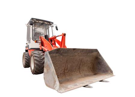bulldoze: Excavator with hydraulic shovel isolated on white