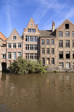 River channel and buildings in Gent, Belgium  Stock Photo