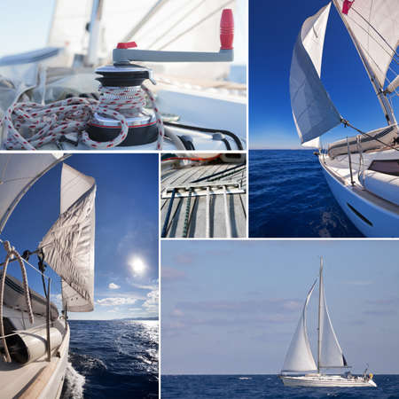 Collage of sailing boat staff: winch with rope, yacht crop, sailboat in the sea  photo