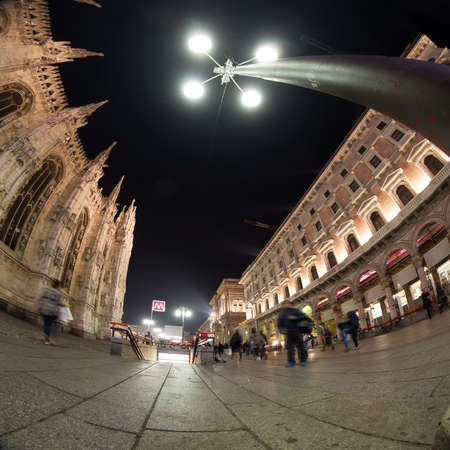 Milano cathedral wide angle view at night  photo