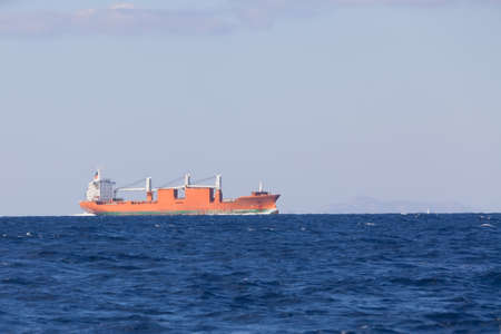 propane tank: Bulk-carrier ship sailing in the sea