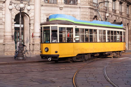 electric tram: Vintage tram on the Milano street, Italy Stock Photo