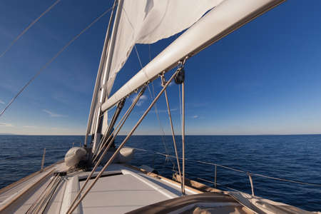 Sailing boat wide angle view in the sea  photo