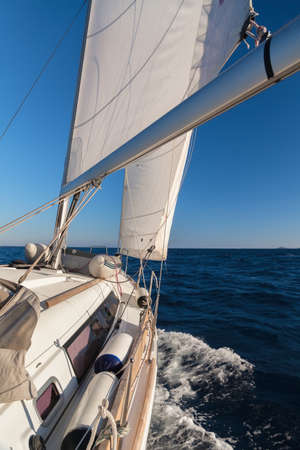 shrouds: Rigging, ropes, shrouds and sail crop on the yacht