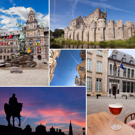 Belgium cities collage with beer, statues, vintage architecture photo
