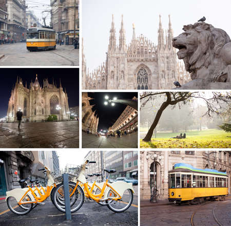 Milano streets with cathedral, vintage tram, bicycles collage Stockfoto