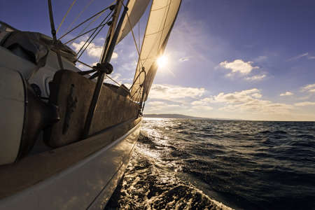 sailing crew: Sailing boat wide angle view in the sea Stock Photo
