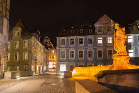 Kaiserin Kunigunde statue at night in Bamberg, Germany