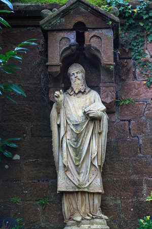 saar: Statue of the saint near St. Lutwinus church in Mettlach, Germany Stock Photo