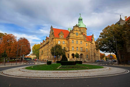 bayern old town: Crossroad with transport and vintage buildings in Bamberg, Germany Editorial