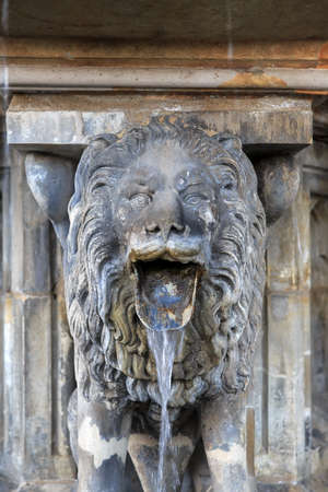 Lion statue with streaming water from mouth near Cologne cathedral, Germany photo
