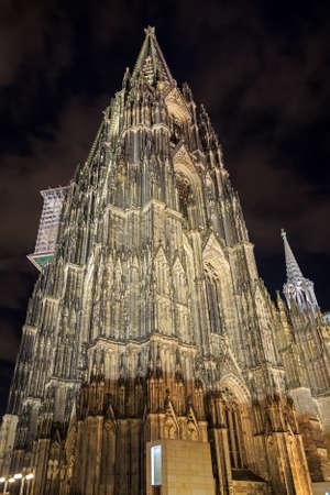 rhine westphalia: Cologne cathedral with illumination at night, Germany Stock Photo