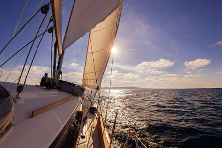 ships at sea: Sailing boat wide angle view in the sea Stock Photo