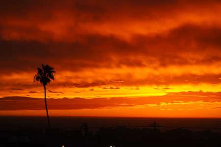 hermosa beach: Sunset panorama above Hermosa beach, California, USA