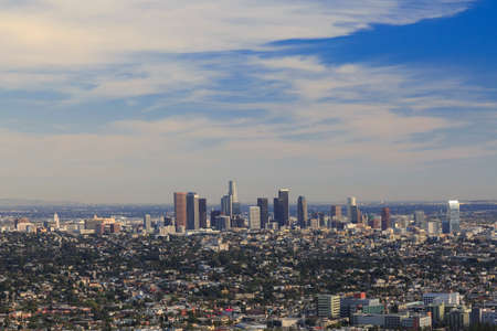 los: Los Angeles downtown, birds eye view at sunny day