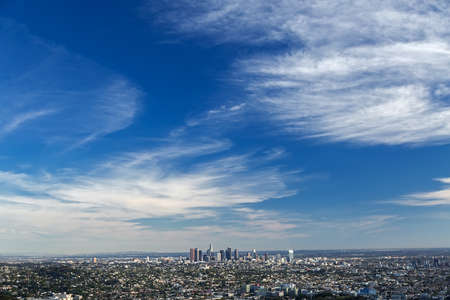 bird's eye view: Los Angeles downtown, birds eye view at sunny day