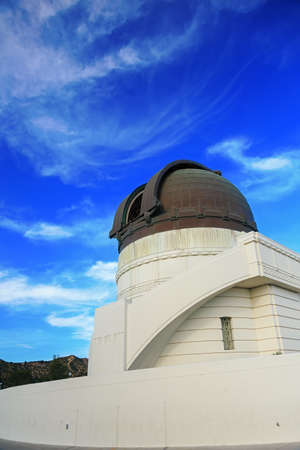 griffith: Griffith observatory with blue sky and clouds