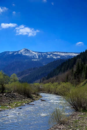 Mountain valley with river in Carpathians, Ukraine