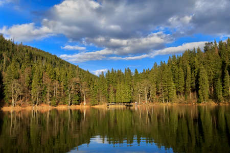 deepest: Synevyr lake - deepest in the Urainian carpathian mountains at sunset