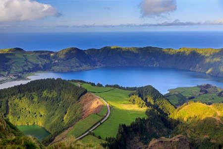 azul: Lagoa de Santiago and Lagoa Azul on San Miguel island of Azores