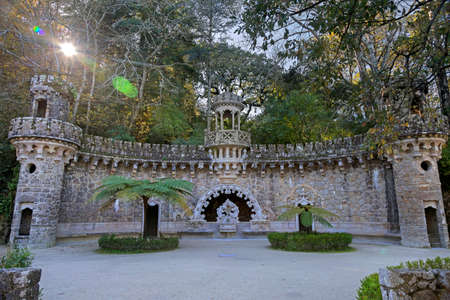 guardians: Central pavilion at Portal of the Guardians in Quinta da Regaleira, Sintra, Portugal Editorial