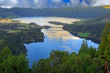 azul: Lagoa Verde and Lagoa Azul on San Miguel island of Azores