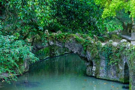 quinta: Stone bridge and pool in Quinta da Regaleira, Sintra, Portugal