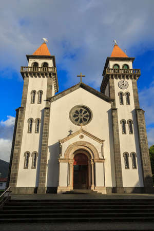 senhora: Church of Nossa Senhora da Alegria in Furnas with cloudy blue sky, Azores