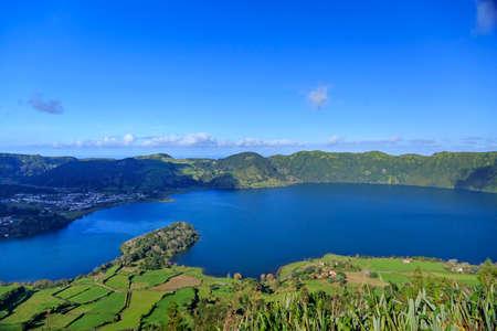 azul: Peninsula on Lagoa Azul, landscape of San Miguel island, Azores, Portugal