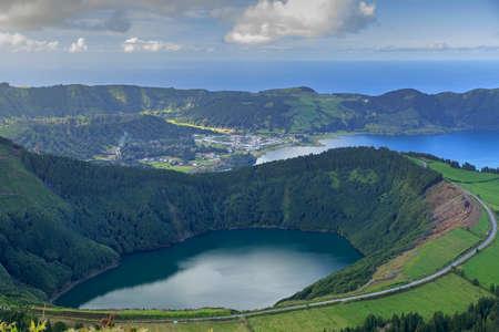 azul: Lagoa de Santiago and Lagoa Azul on San Miguel island of Azores, panorama