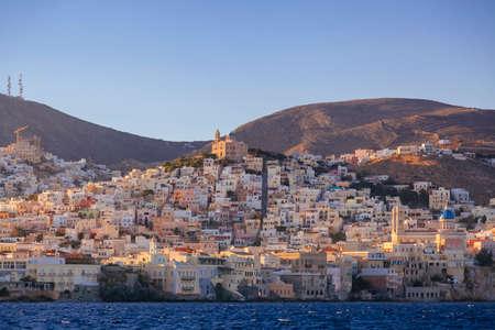 aegean sea: Sea bay near greek village at sunrise Stock Photo