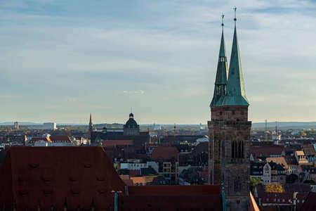 View of the city, church, sky, clouds in Nuremberg, Germany Redactioneel