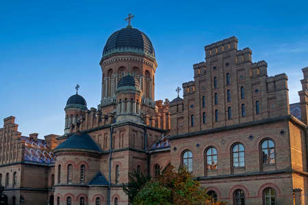 univercity: Cathedral made from brown bricks of Chernivtsi State Univercity, Ukraine