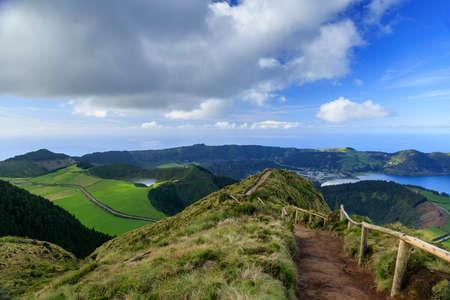 azul: Lagoa Azul and footpath on San Miguel island of Azores