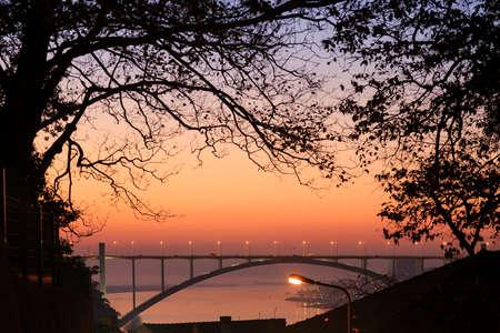 Arrabida bridge and tree shadows, Douro river, Porto, Portugal