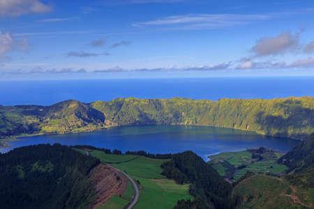 Lagoa Azul on San Miguel island of Azores, panorama Stockfoto