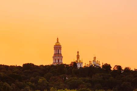 Kyiv pechersk lavra with golden cupola at sunset, Ukraine Stockfoto