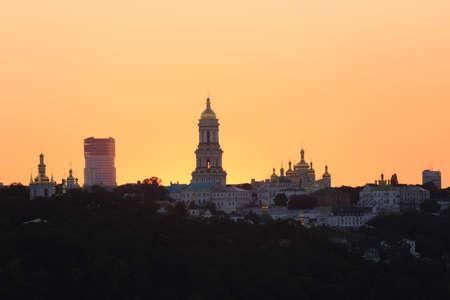 Kyiv pechersk lavra with golden cupola at sunset, Ukraine Stock Photo