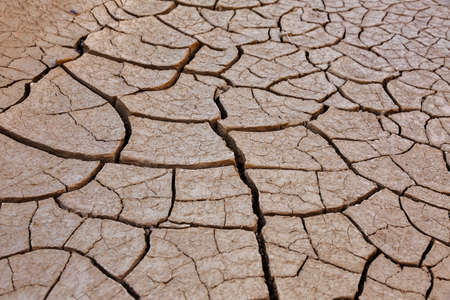 Clay cracks on the ground near Zabriskie point, California, USA, Death Valley