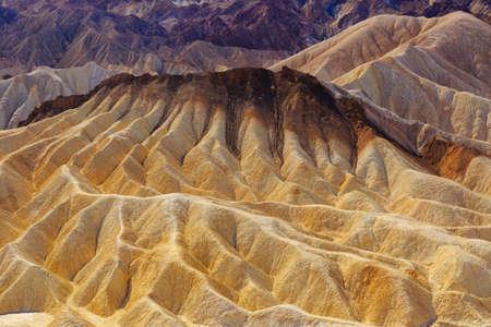 Zabriskie point cracked landscape view in national park Death Valley, USA