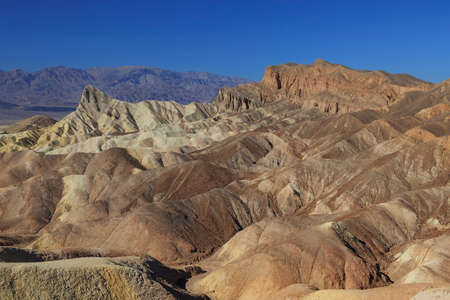 Golden Canyon and Gower Gulch Loop trail view of badlands at Zabriskie point in national park Death Valley, USA Stockfoto