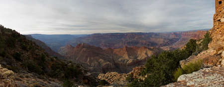 Grand Canyon panorama at the sunset with colorful cliffs, Colorado river, Arizona, USA Stockfoto