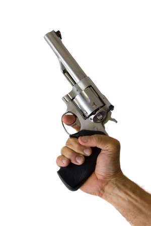 revolver: 44 magnum revolver in hand isolated Stock Photo