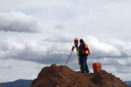 Surveying on a Construction Site 版權商用圖片