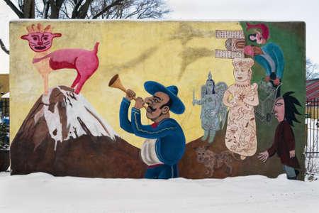 히스패닉 벽화, 산타페, 뉴 멕시코, 미국 에디토리얼