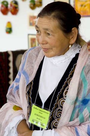 International Folk Art Market held annually in Santa Fe, New Mexico,  USA, woman from Kazakhstan