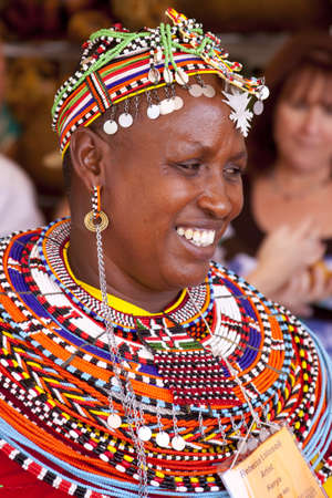 International Folk Art Market held annually in Santa Fe, New Mexico,  USA, woman from Kenya, Africa