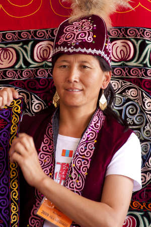 annually: International Folk Art Market held annually in Santa Fe, New Mexico,  USA, woman from Mongolia