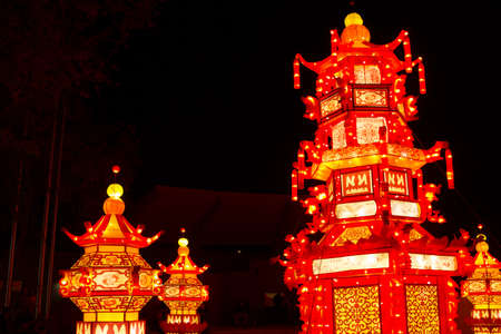 ALBUQUERQUE, NEW MEXICO, USA- NOVEMBER 12,2017: Chinese Lantern Festival lit up at night to celebrate the Chinese New Year