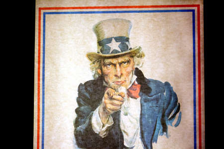 WASHINGTON D.C., USA - MAY 11, 2016: Uncle Sam I Want You for the U.S. Army Recruitment Poster by James Montgomery Flagg at  National Air and Space Museum in Washington D.C. Smithsonian Institution